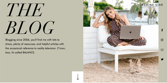 Screenshot of Jasmine Star blog homepage