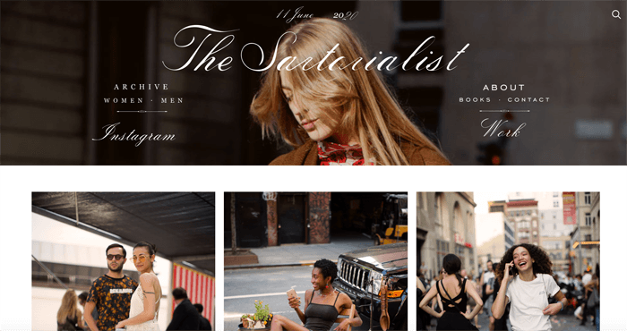 Screenshot of the Sartorialist photography blog homepage
