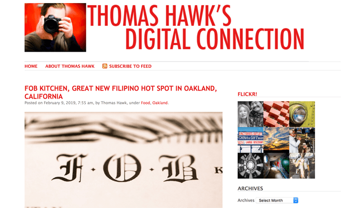 Screenshot of Thomas Hawk photography blog homepage