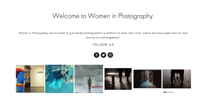 Screenshot of Women in Photography blog homepage