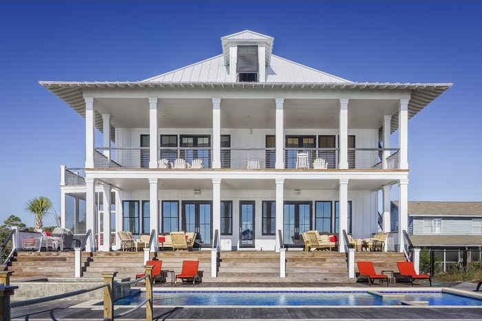 Exterior of a lavish house with swimming pool