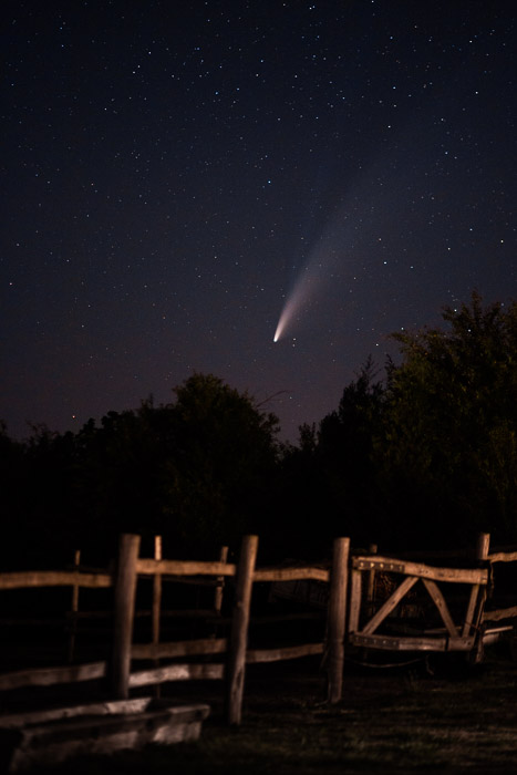 A comet in the night sky