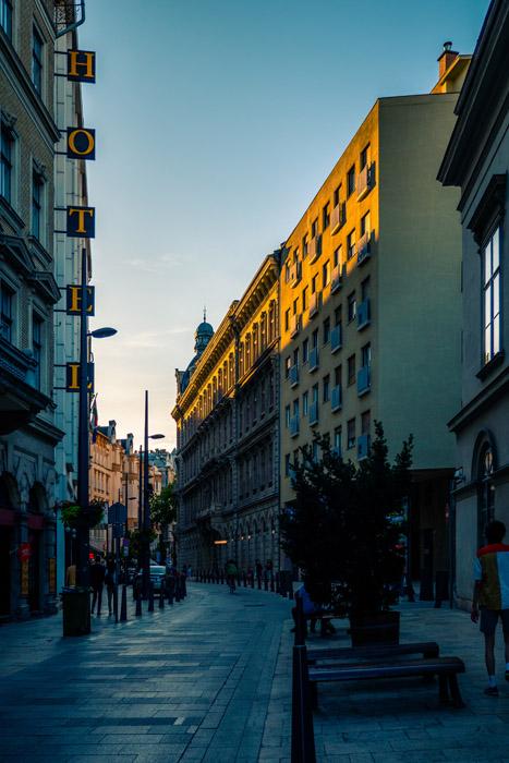 A street scene in Budapest