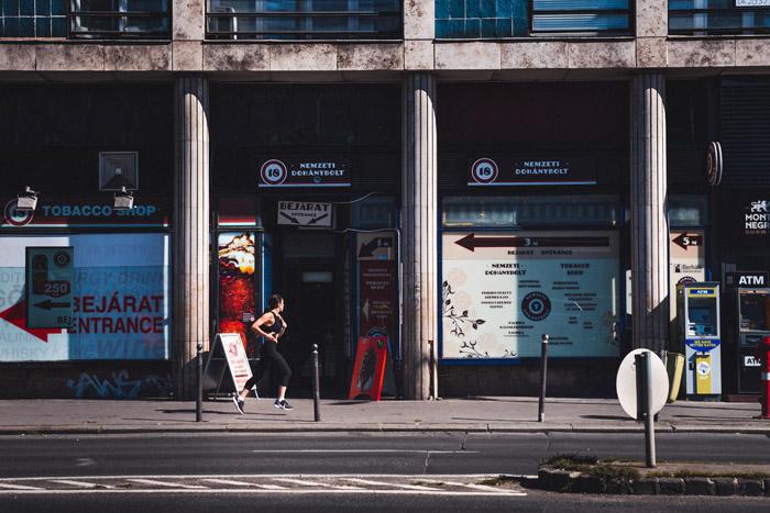 Empty street scene in Budapest