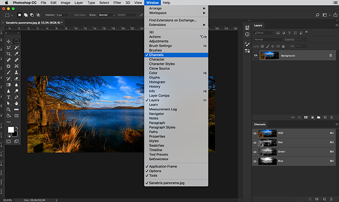 Screenshot of the color channel palette window in Photoshop