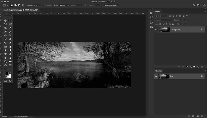 A screenshot of using greyscale color mode in Photoshop