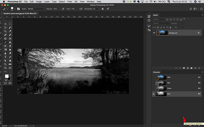 A screenshot of using alpha channels in Photoshop