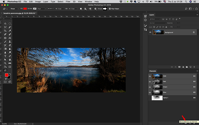A screenshot of creating an alpha channel in Photoshop