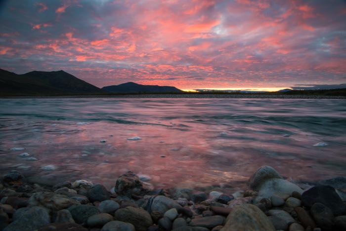 Long exposure coastal landscape at sunset