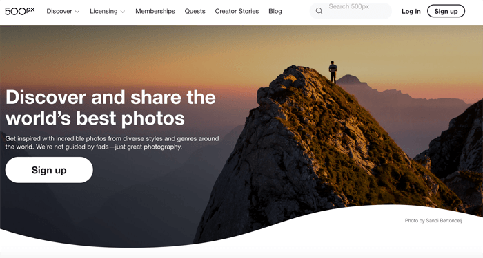 Screenshot of 500px site