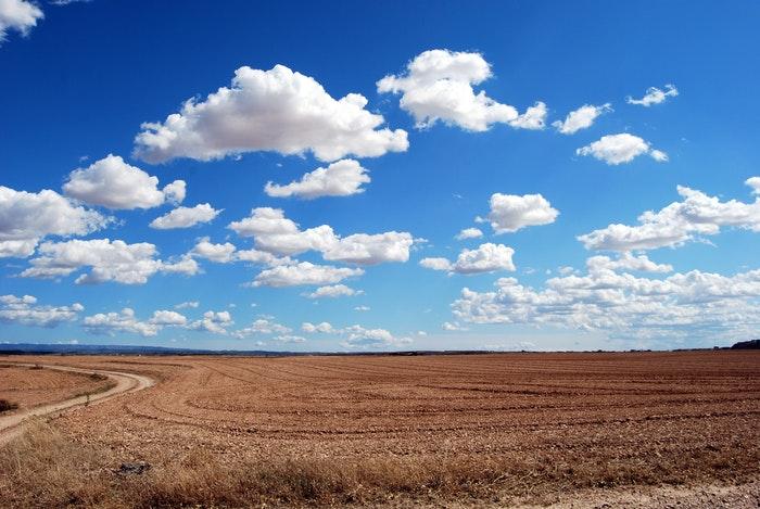 foto de um campo com nuvens fofas e um céu azul brilhante acima