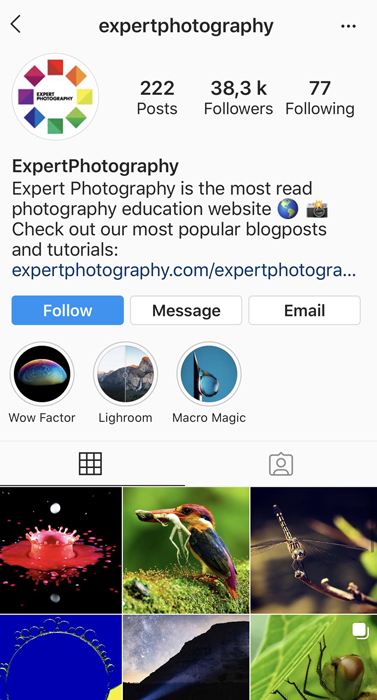 Screenshot of Expertphotographys Instagram page