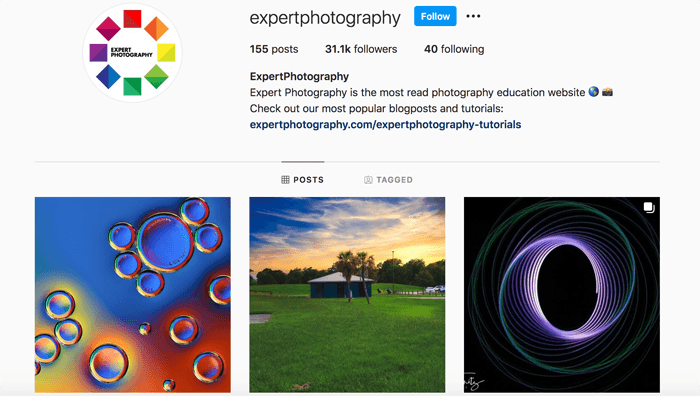 Screenshot of the ExpertPhotography Instagram page