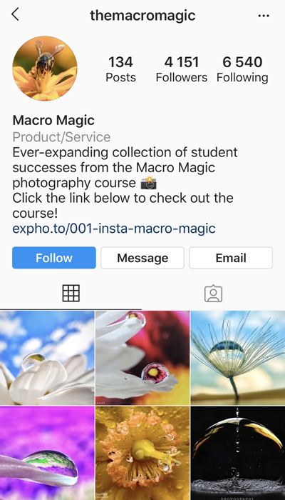 Screenshot of Expertphotographys macro magic Instagram page