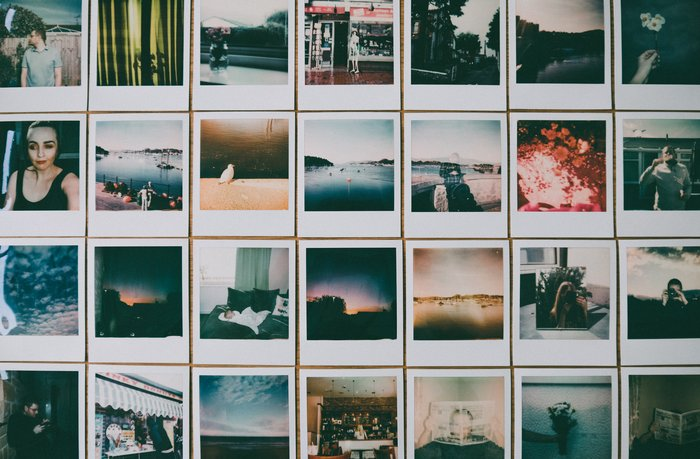 A large series of printed instant photos