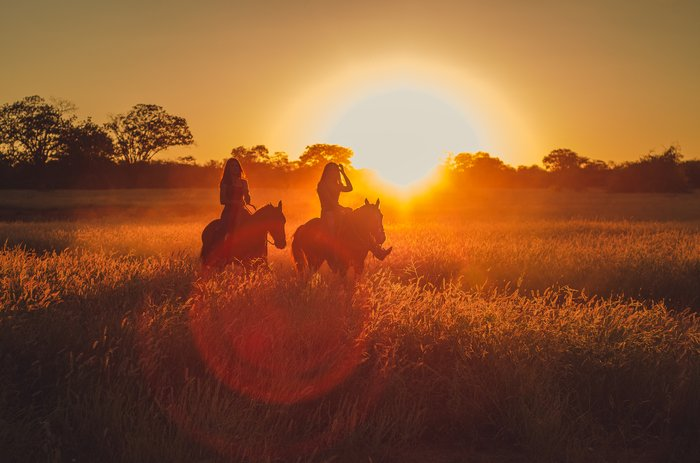 Example of lens flare in an image of two people horseriding