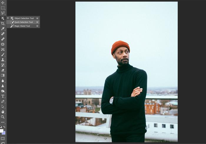 Captura de tela da edição de um retrato de um homem no Photoshop