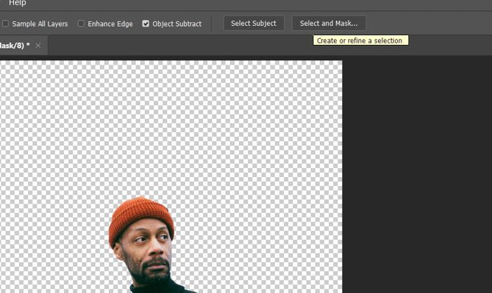 Captura de tela da edição de um retrato de um homem no Photoshop com a ferramenta de seleção rápida
