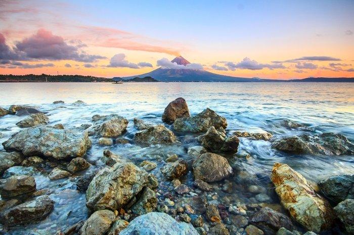 A rocky coastal seascape