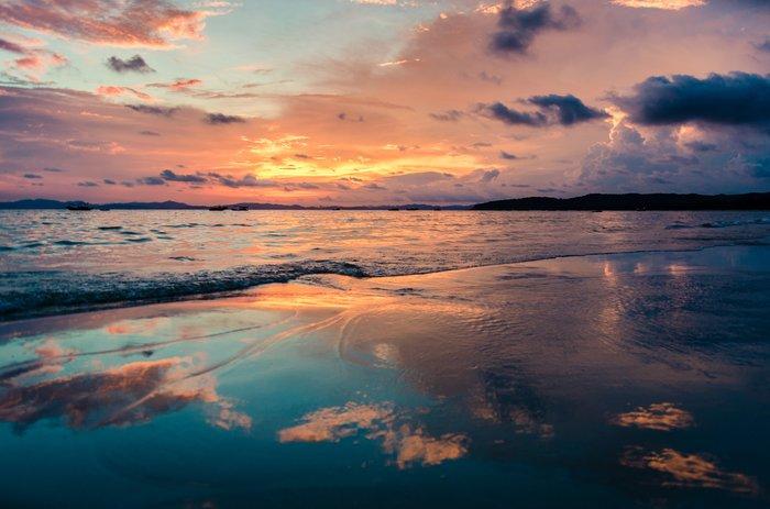 Beautiful evening coastal seascape