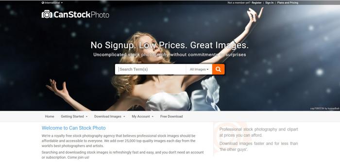 Screenshot of Can Stock photo website homepage