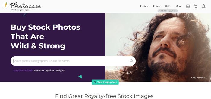 A screenshot of Photocase website
