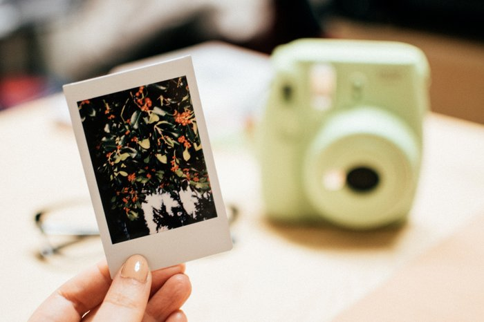 A person holding a printed instant photo of a flower