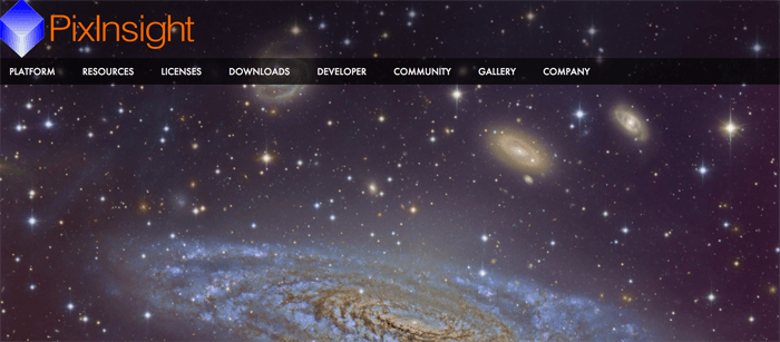 Screenshot of Pixinsight website