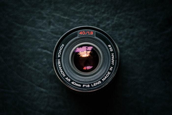 Lens on a black background