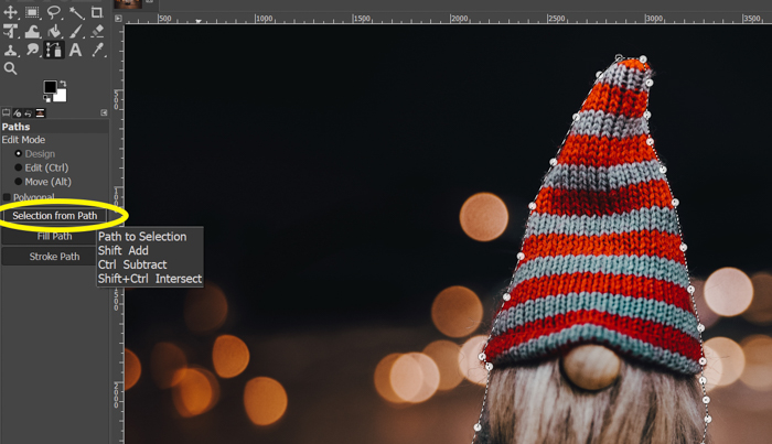 screenshot showing how to cut out an image in Gimp using selection from path