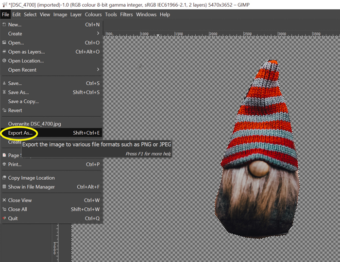 screenshot showing how to export photo in gimp