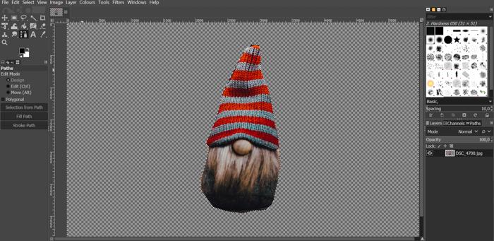 captura de tela mostrando como remover o fundo do gimp