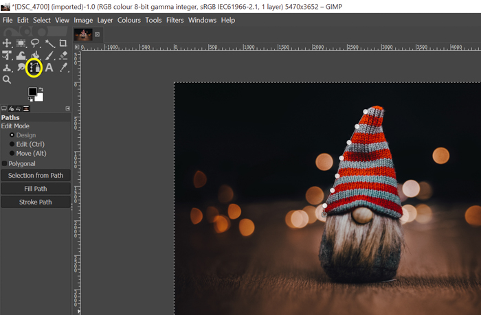 screenshot showing how to cut out an image- path around the subject