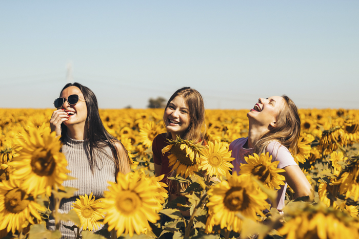 photo of three girls on a field of sunflowers