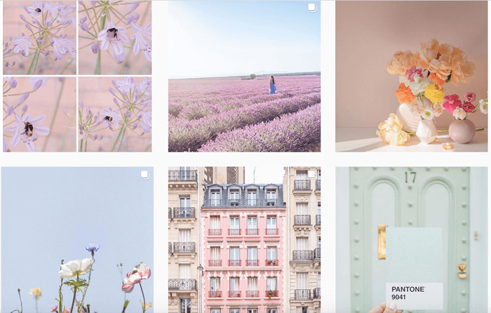 6 photo grid of dreamy pastel photos
