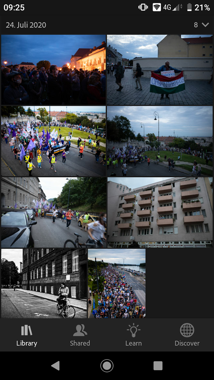 A screenshot of the photo library in Adobe Lightroom app
