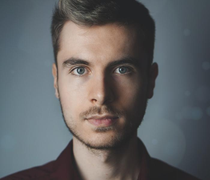 A close up portrait of a young man