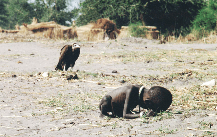 Starving Child and Vulture, iconic photo by Kevin Carter 1993