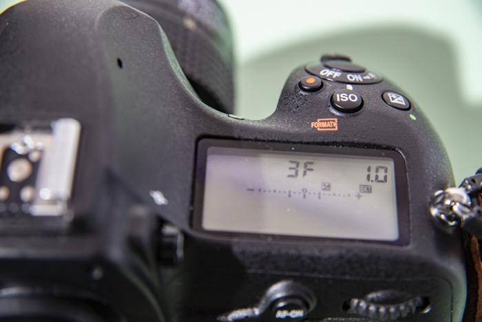 Configuração da câmera em uma Nikon DSLR