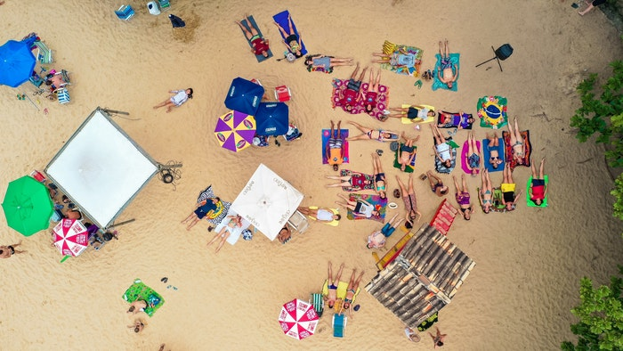 Colorful beach scene shot from a birds eye view perspective