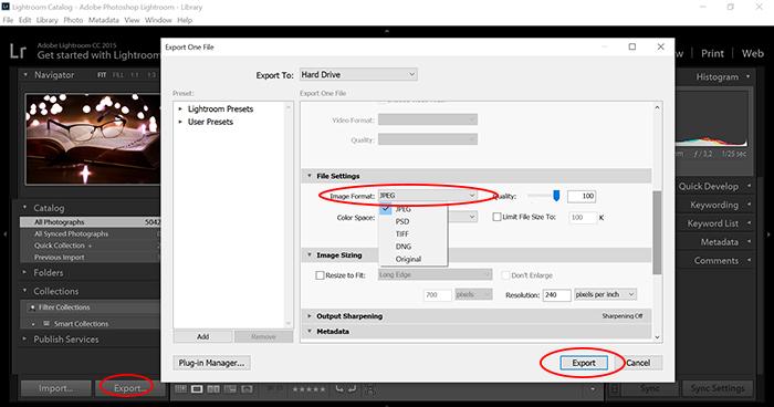 एडोब लाइटरूम का एक स्क्रीनशॉट jpg को cr3 फाइलों में निर्यात कर रहा है