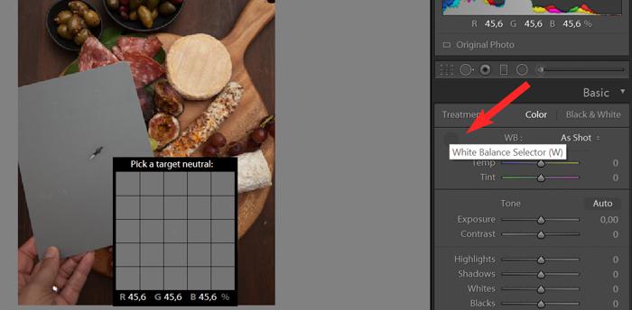 A screenshot of food photo editing in Lightroom