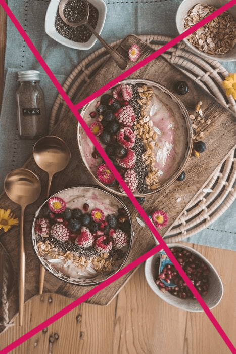 Flatlay food photography with golden triangle grid overlayed