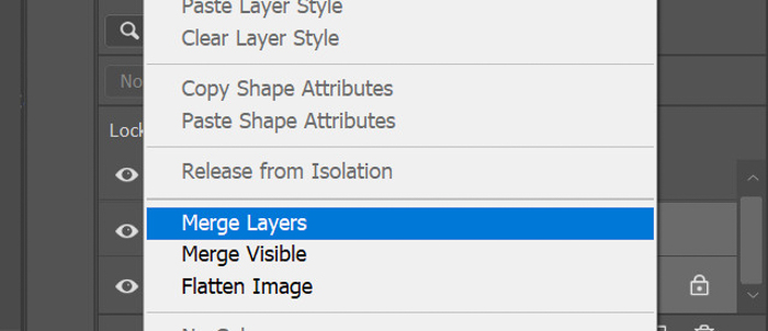 A screenshot of merging layers in Photoshop