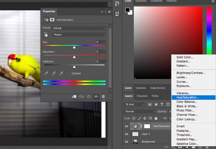 Uma captura de tela do ajuste de matiz / saturação no Photoshop