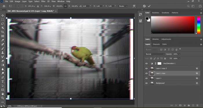 Uma captura de tela da criação de efeitos de falha no Photoshop