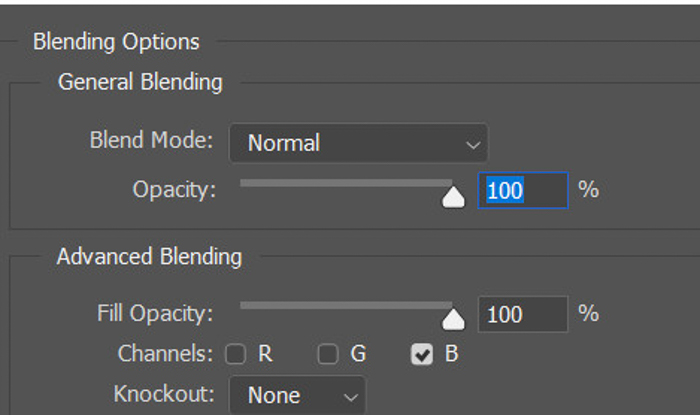 Captura de tela das opções de mesclagem no Photoshop