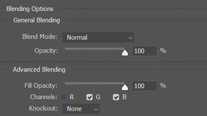 Screenshot of blending options in Photoshop