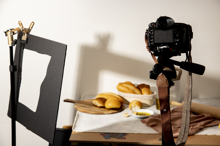 A food photo shoot setup