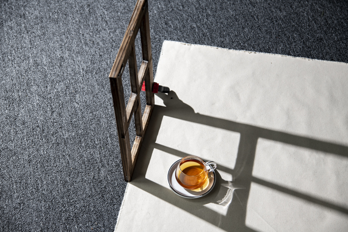 Overhead shot of a cup of tea on a table